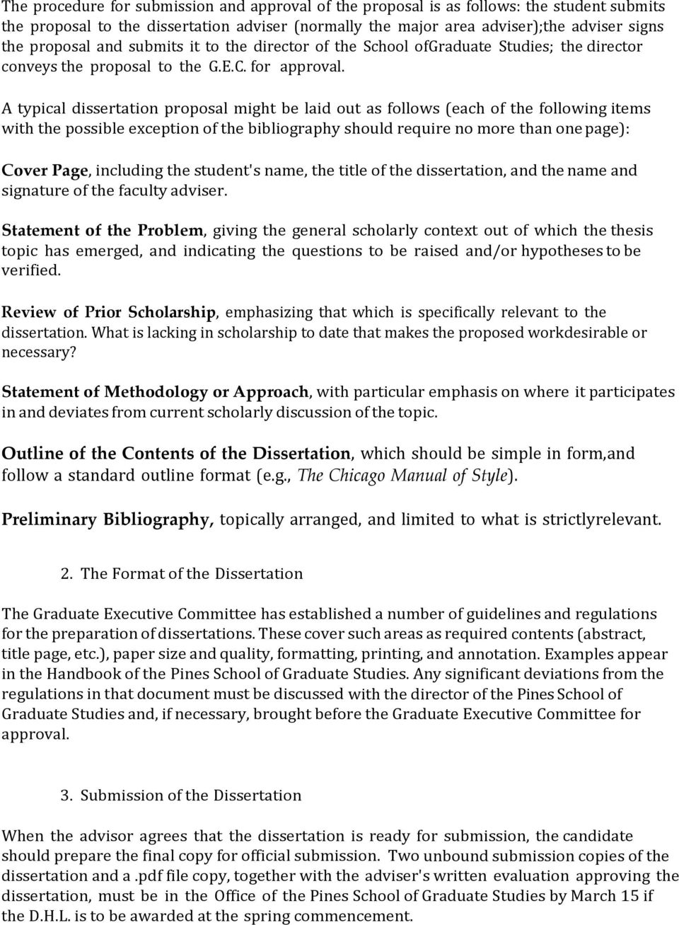 How should a dissertation be laid out