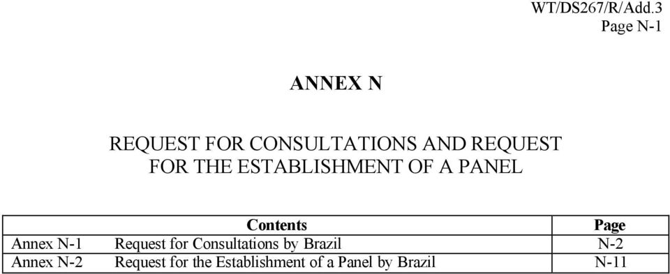 N-1 Request for Consultations by Brazil N-2 Annex N-2