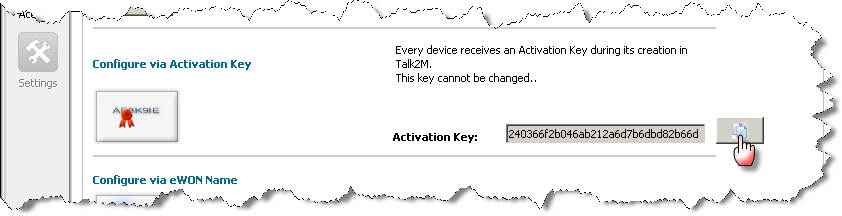 5. Reaching your ewon through the Internet The following window opens: 3. Under the Configure via Activation Key section you will find the Activation Key needed for the ewon configuration.