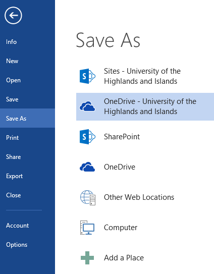10 Save and share files in the cloud by using OneDrive for Business Accessing OneDrive for Business from Microsoft Office You can save, open, and share files in OneDrive for Business directly from