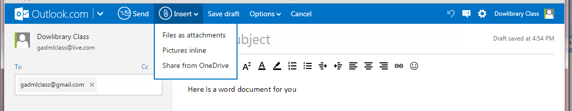 Create a new document in OneDrive 1. Click Create 2. Choose the type of document 3. You can rename the new document here Send a document in an email 1.