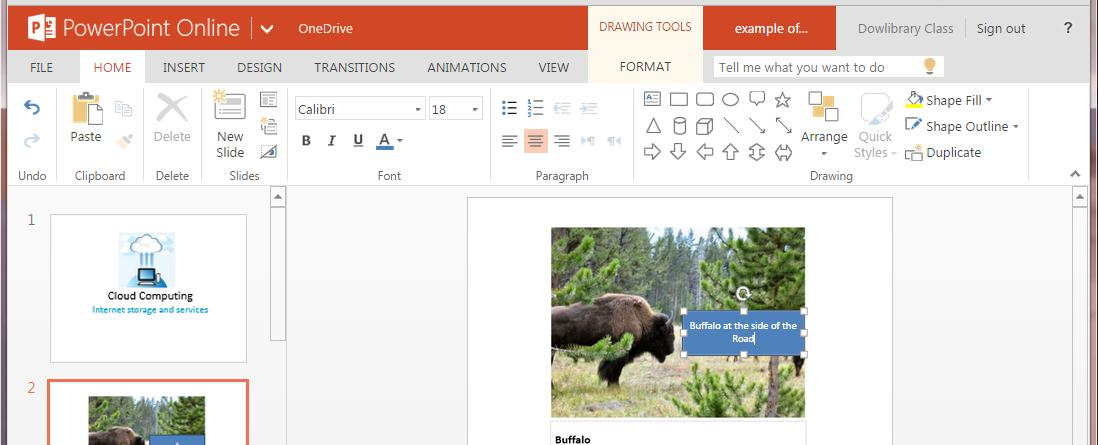 Add a title Insert a Box Click into box and type Buffalo Click on the rectangle
