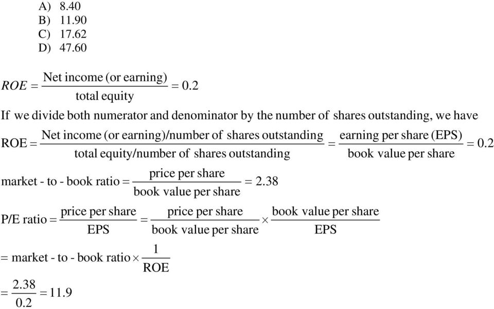 shares outstanding ROE total equity/number of shares outstanding market - to - book ratio Net income (or earning) 0.