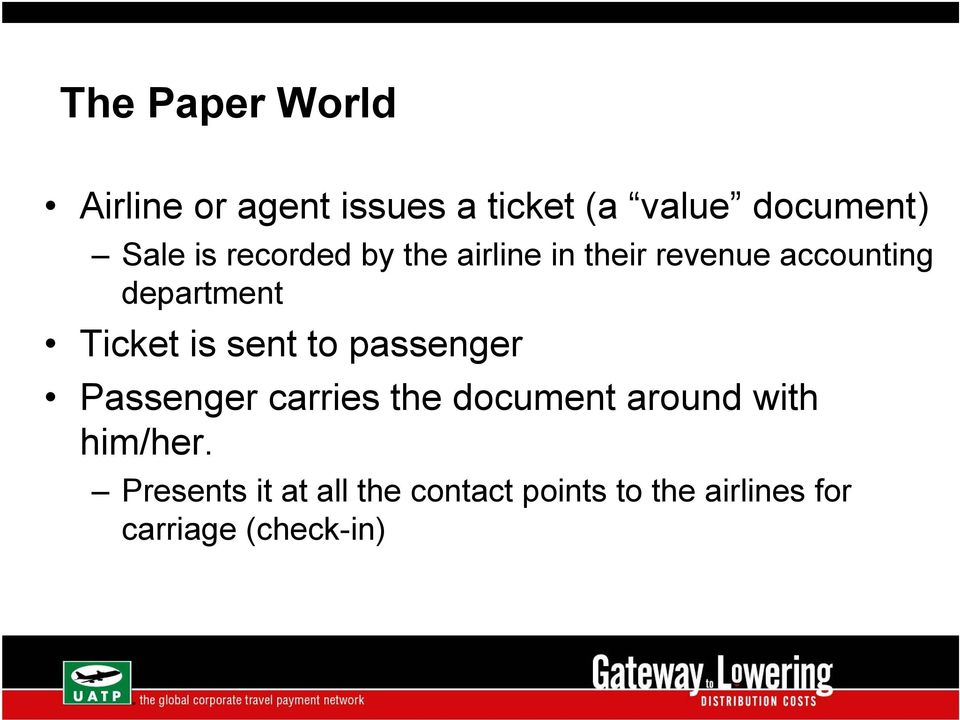 is sent to passenger Passenger carries the document around with him/her.