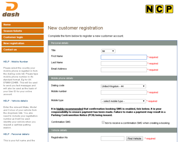 service or find out more information. Click on the New registration tab on the left hand side of the screen.