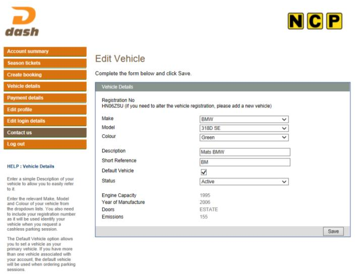 2. How to change your registered vehicle To change your registered vehicle, click on the vehicle details tab to the left of the screen.