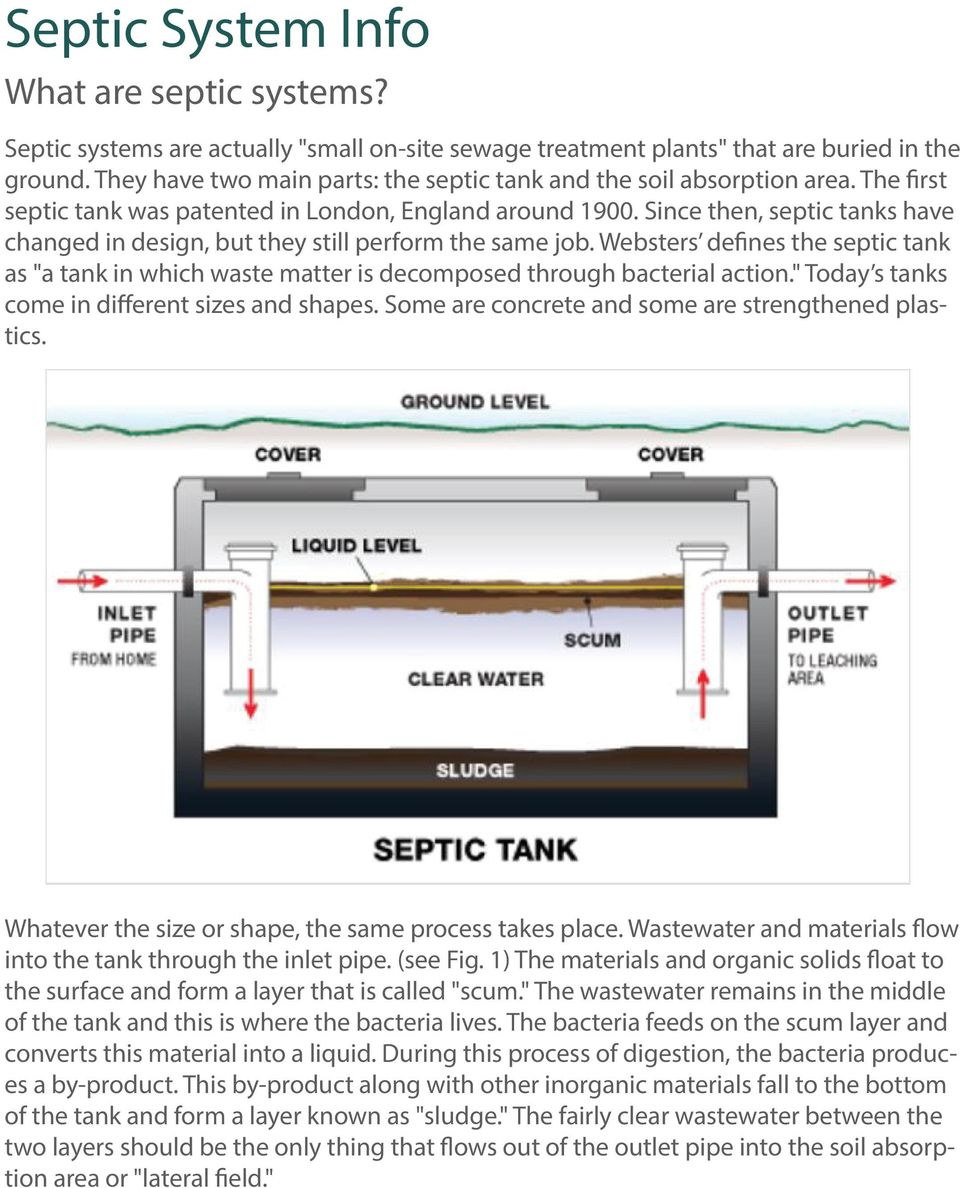 "Since then, septic tanks have changed in design, but they still perform the same job. Websters defines the septic tank as ""a tank in which waste matter is decomposed through bacterial action."