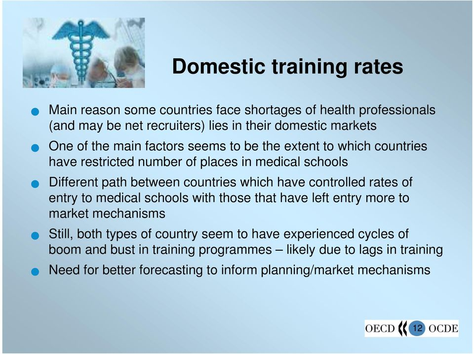 have controlled rates of entry to medical schools with those that have left entry more to market mechanisms Still, both types of country seem to have