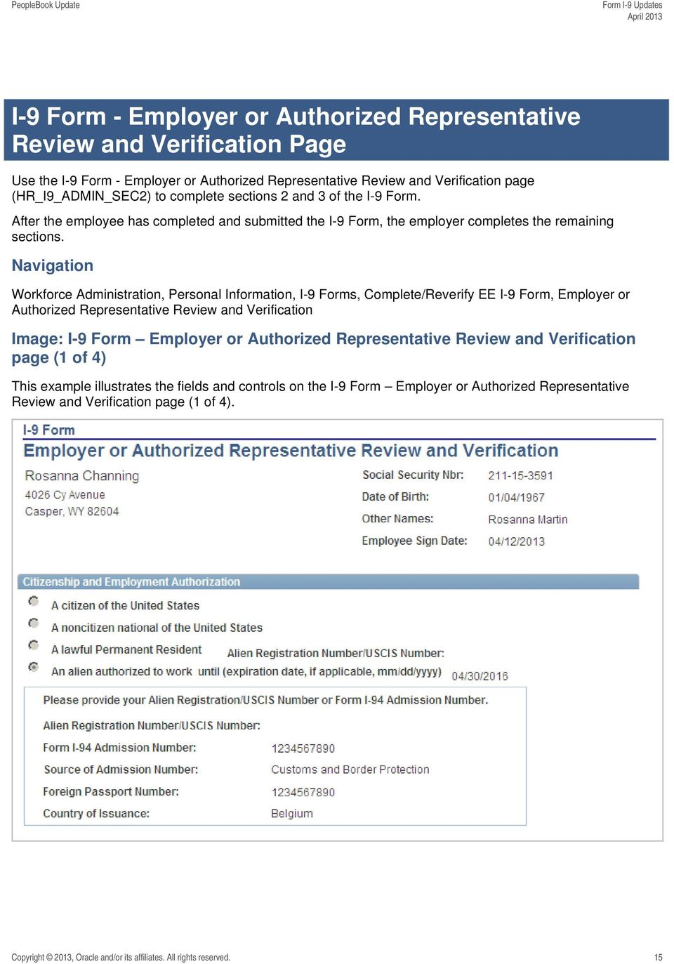 Navigation Workforce Administration, Personal Information, I-9 Forms, Complete/Reverify EE I-9 Form, Employer or Authorized Representative Review and Verification Image: I-9 Form Employer or