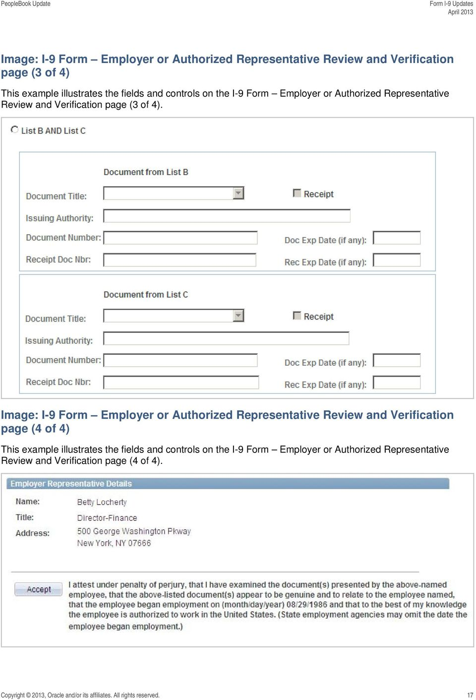 Image: I-9 Form Employer or Authorized Representative Review and Verification page (4 of 4) This example illustrates the fields and