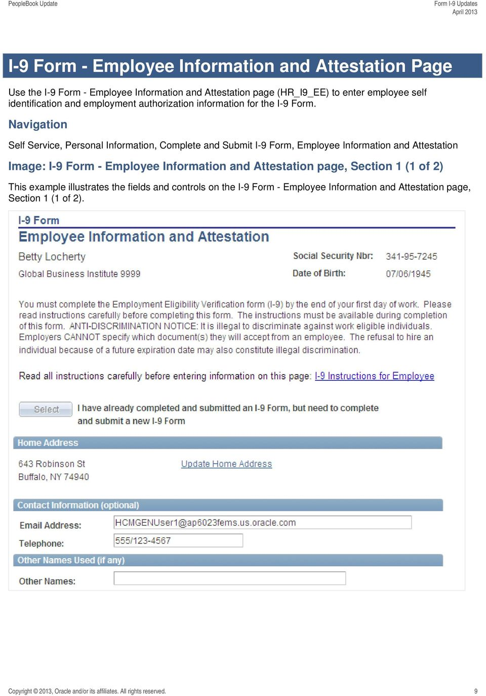 Navigation Self Service, Personal Information, Complete and Submit I-9 Form, Employee Information and Attestation Image: I-9 Form - Employee Information