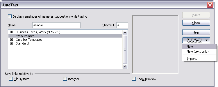 Using AutoText to insert often-used fields If you use the same fields often, you will want a quick and easy way to insert them. Use AutoText for this purpose.