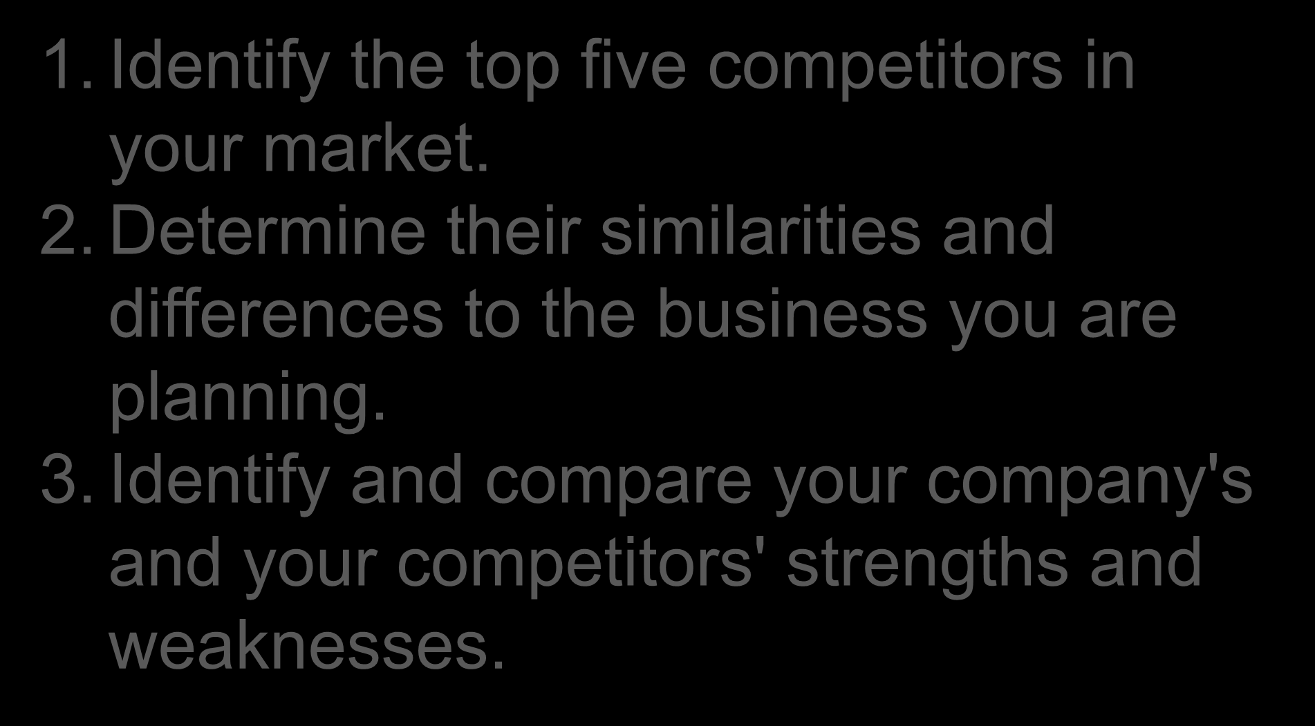 Competition Direct 1. Identify the top five competitors in your market. 2.