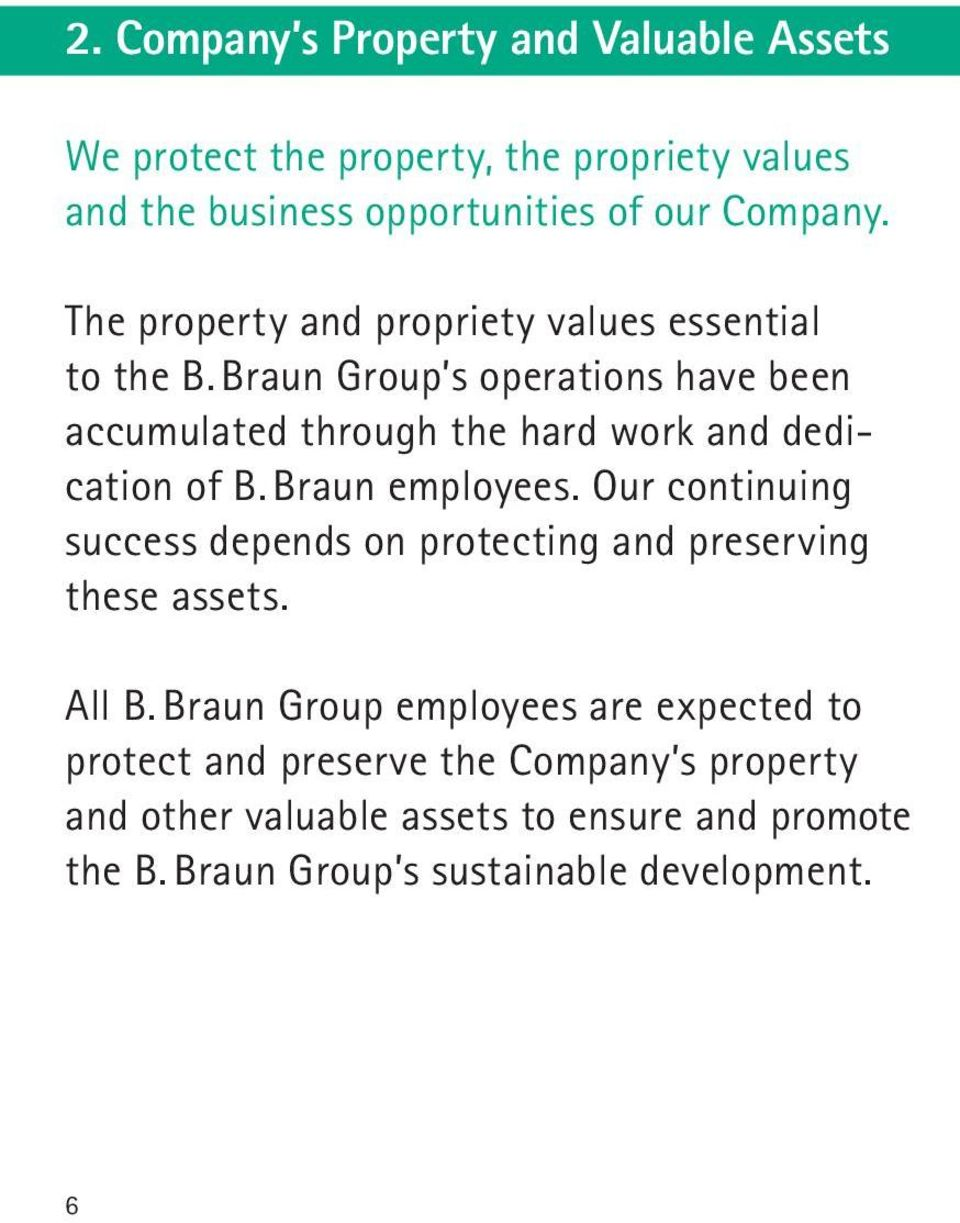 Braun Group s operations have been accumulated through the hard work and dedication of B. Braun employees.