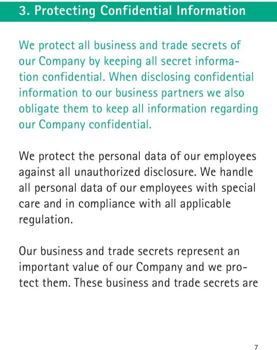 We protect the personal data of our employees against all unauthorized disclosure.