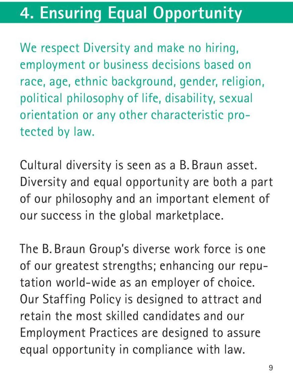 Diversity and equal opportunity are both a part of our philosophy and an important element of our success in the global marketplace. The B.