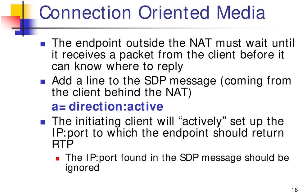 client behind the ) a=direction:active The initiating client will actively set up the IP:port
