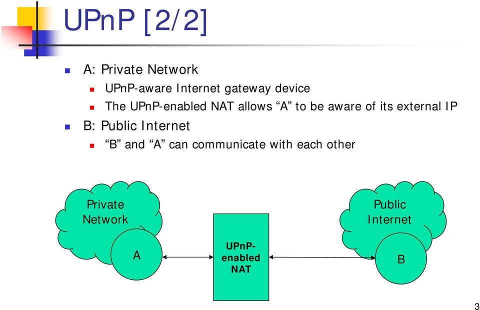 external IP B: Public Internet B and A can communicate