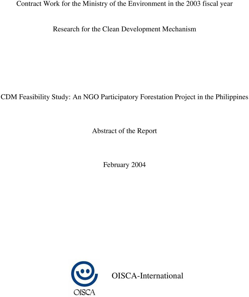 Feasibility Study: An NGO Participatory Forestation Project in