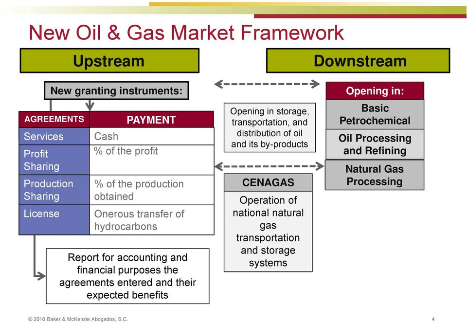 and their expected benefits Opening in storage, transportation, and distribution of oil and its by-products CENAGAS Operation of national natural gas