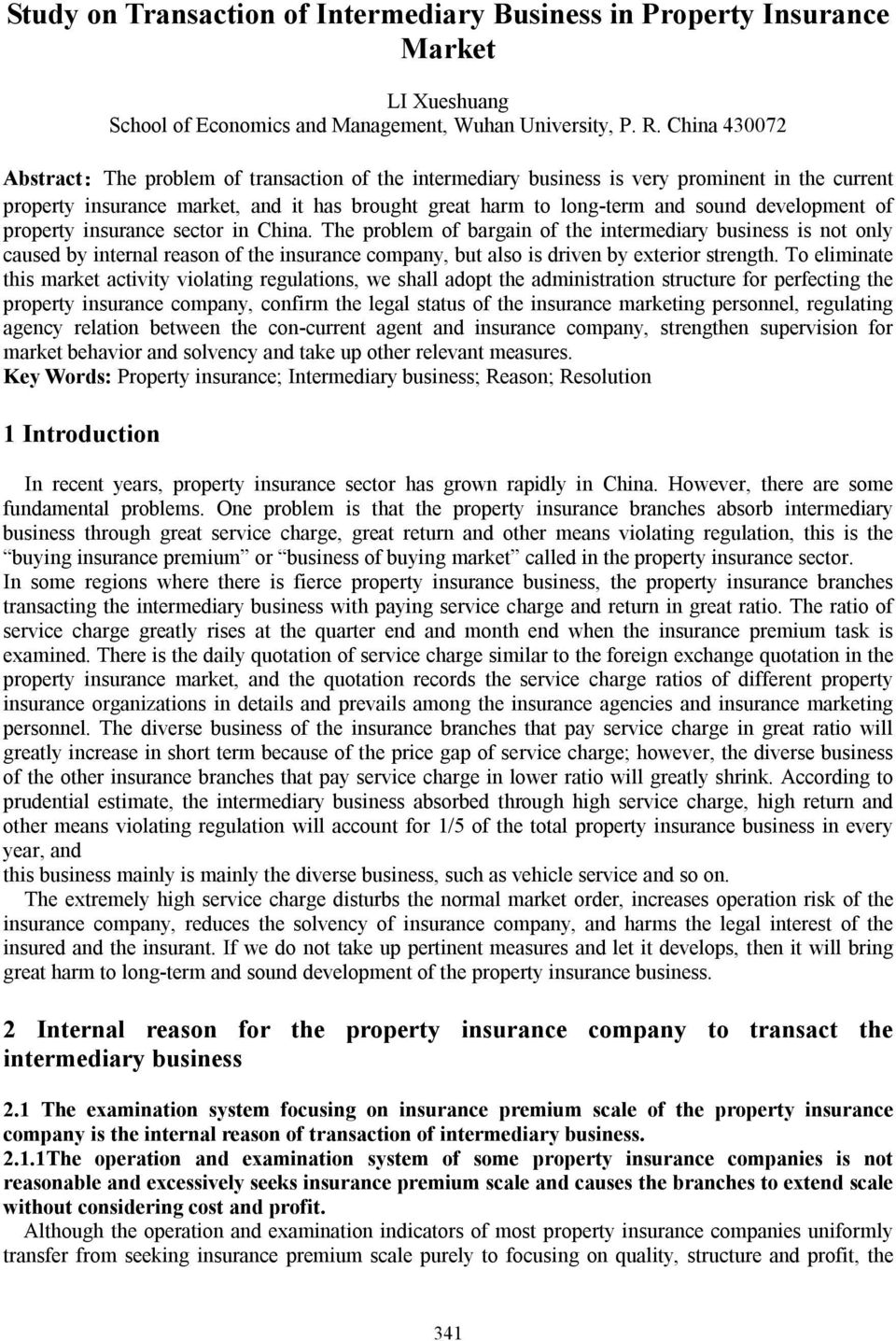 development of property insurance sector in China.