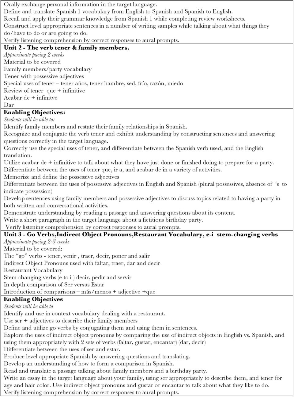 Name Of Course Spanish 2 Course Number Pdf