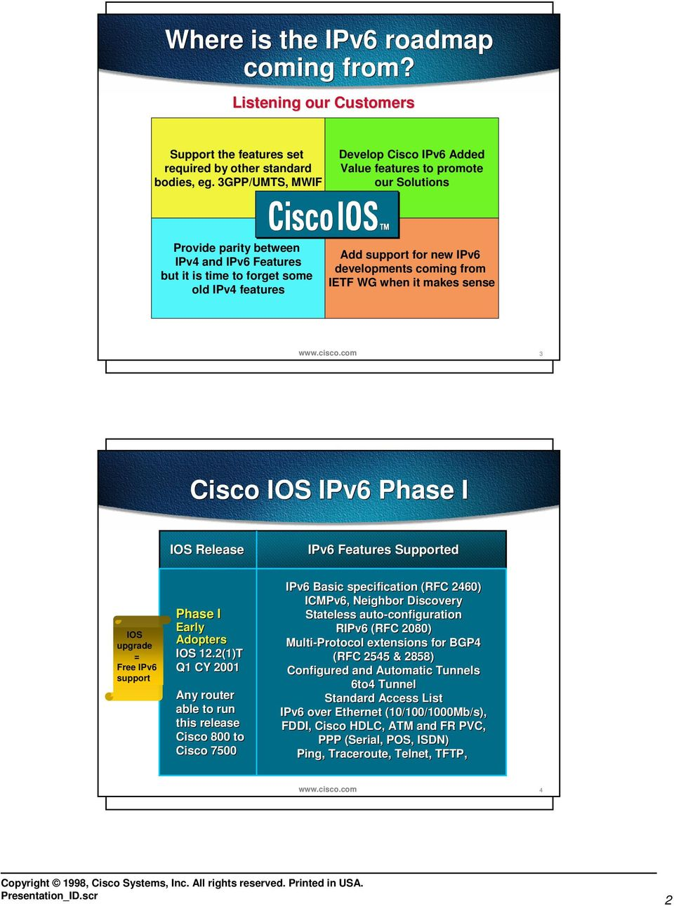 coming from IETF WG when it makes sense 3 Cisco IOS Phase I Features Supported IOS upgrade = Free support Phase I Early Adopters IOS 12.