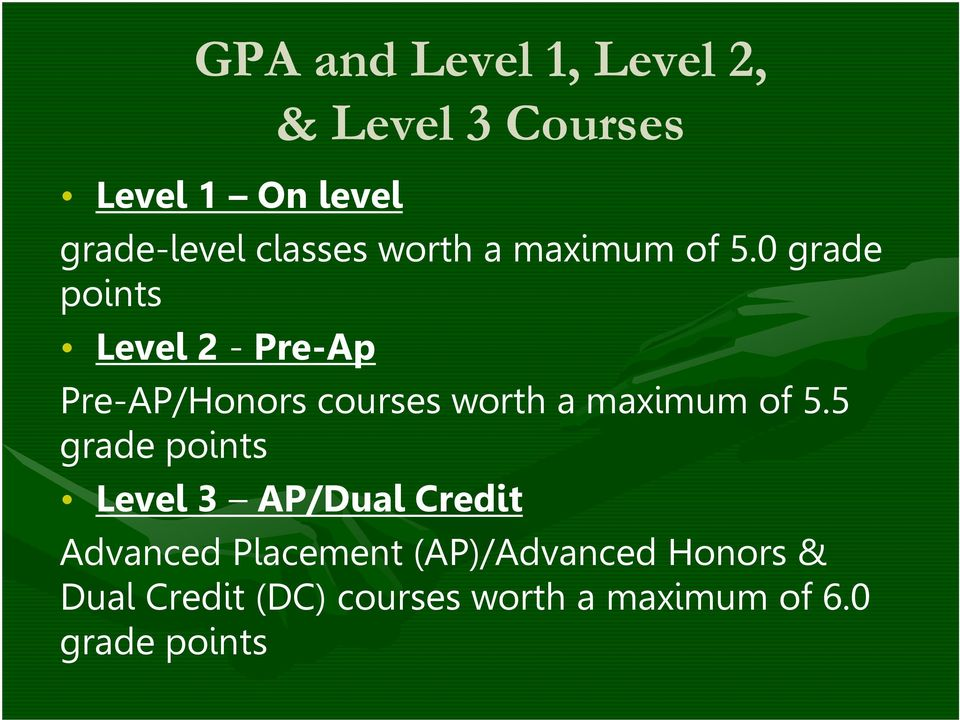 0 grade points Level 2 - Pre-Ap Pre-AP/Honors courses worth a maximum of 5.