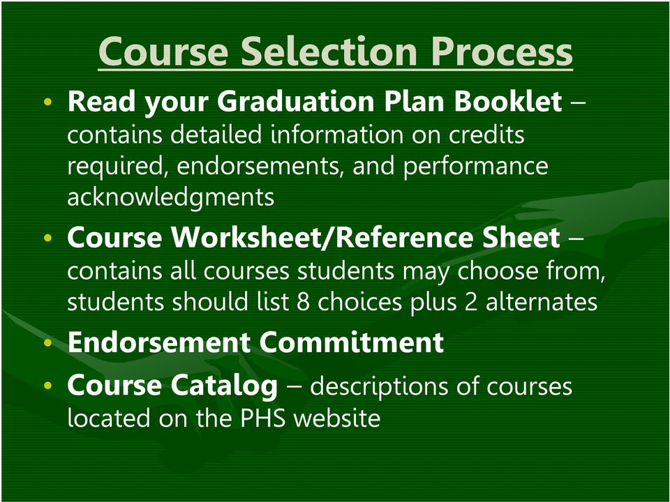Sheet contains all courses students may choose from, students should list 8 choices plus 2