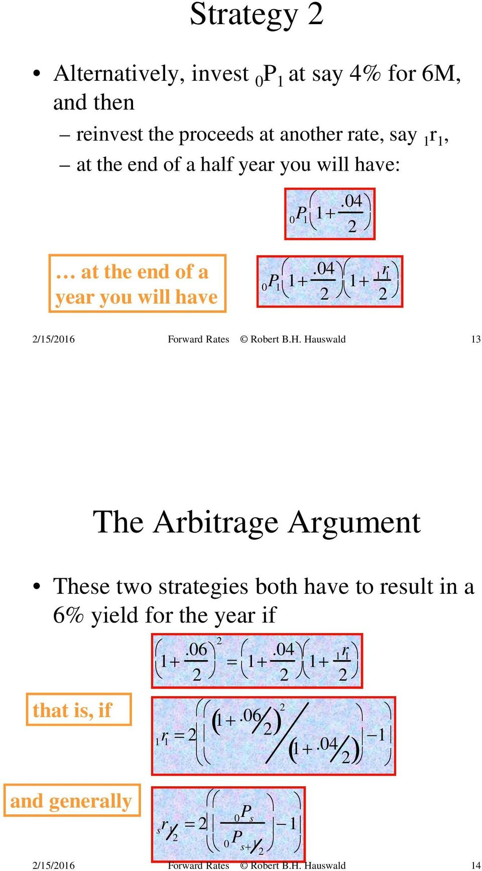 04 2 1+ r 1 1 2 13 The Arbitrage Argument These two strategies both have to result in a 6% yield for the year if