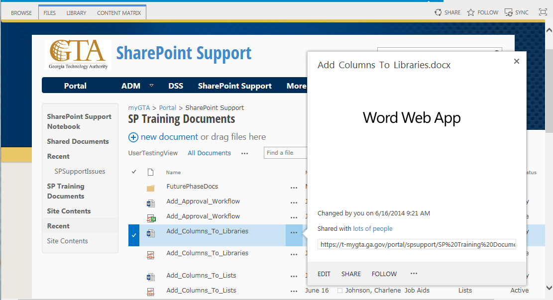 3. SharePoint will display the document Note: To view a document, you can also click on the ellipses next to the name of the document and then click Open. 7.