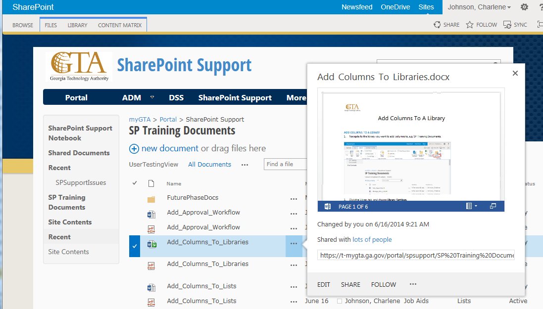7. SharePoint will record that the document is checked out to you Menu (second) Figure 19 Menu when clicking on ellipses from the