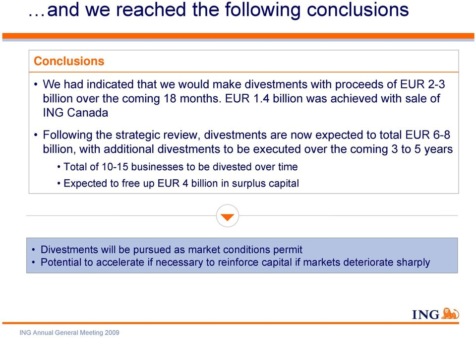 4 billion was achieved with sale of ING Canada Following the strategic review, divestments are now expected to total EUR 6-8 billion, with additional