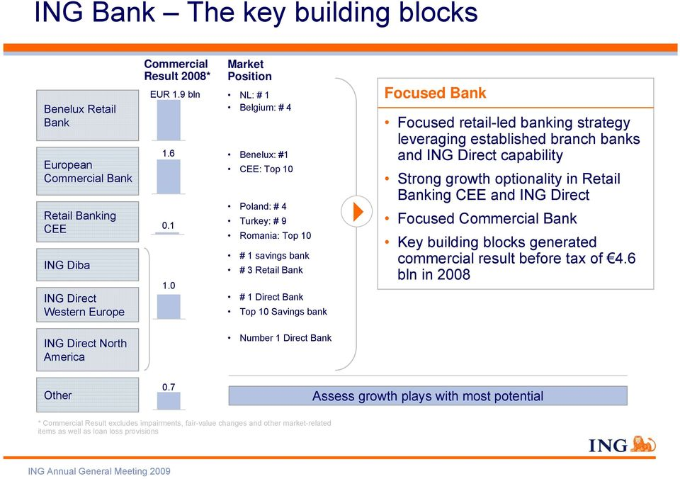retail-led banking strategy leveraging established branch banks and ING Direct capability Strong growth optionality in Retail Banking CEE and ING Direct Focused Commercial Bank Key building blocks