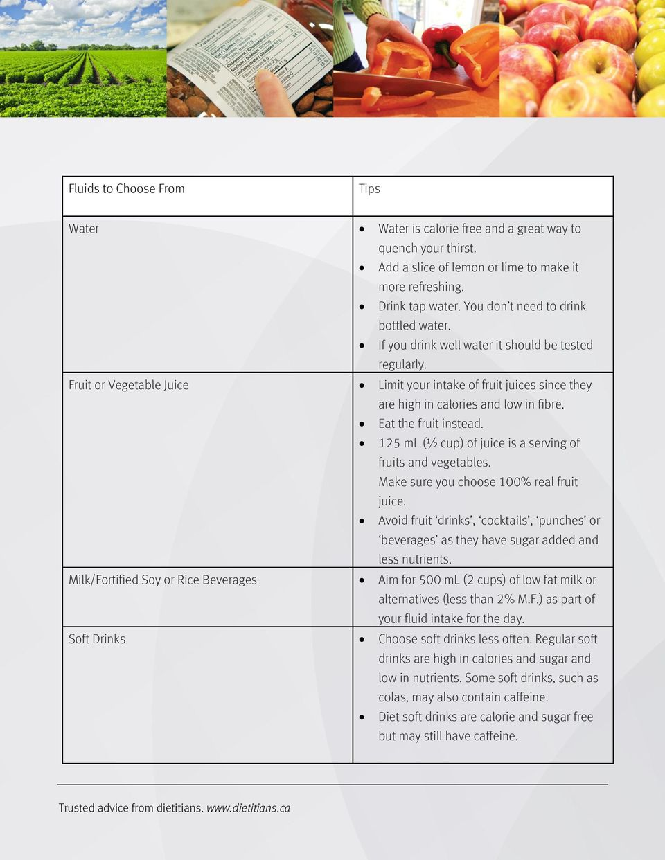 Fruit or Vegetable Juice Limit your intake of fruit juices since they are high in calories and low in fibre. Eat the fruit instead. 125 ml (½ cup) of juice is a serving of fruits and vegetables.