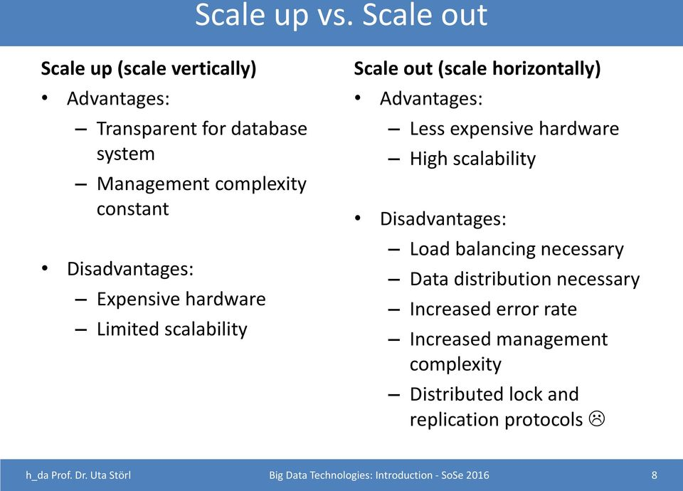 Disadvantages: Expensive hardware Limited scalability Scale out (scale horizontally) Advantages: Less expensive hardware High