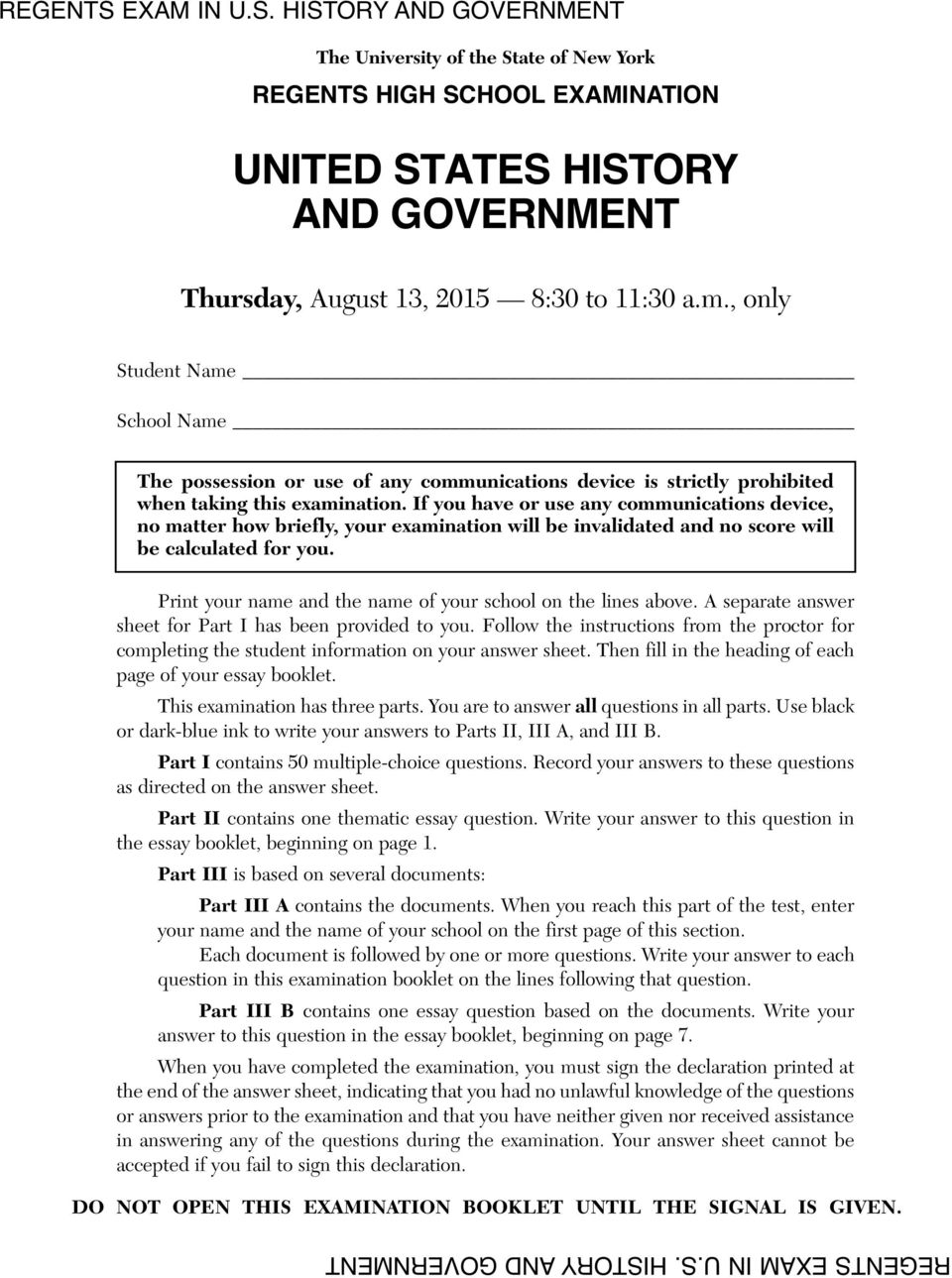 united states history and government pdf if you have or use any communications device no matter how briefly your examination