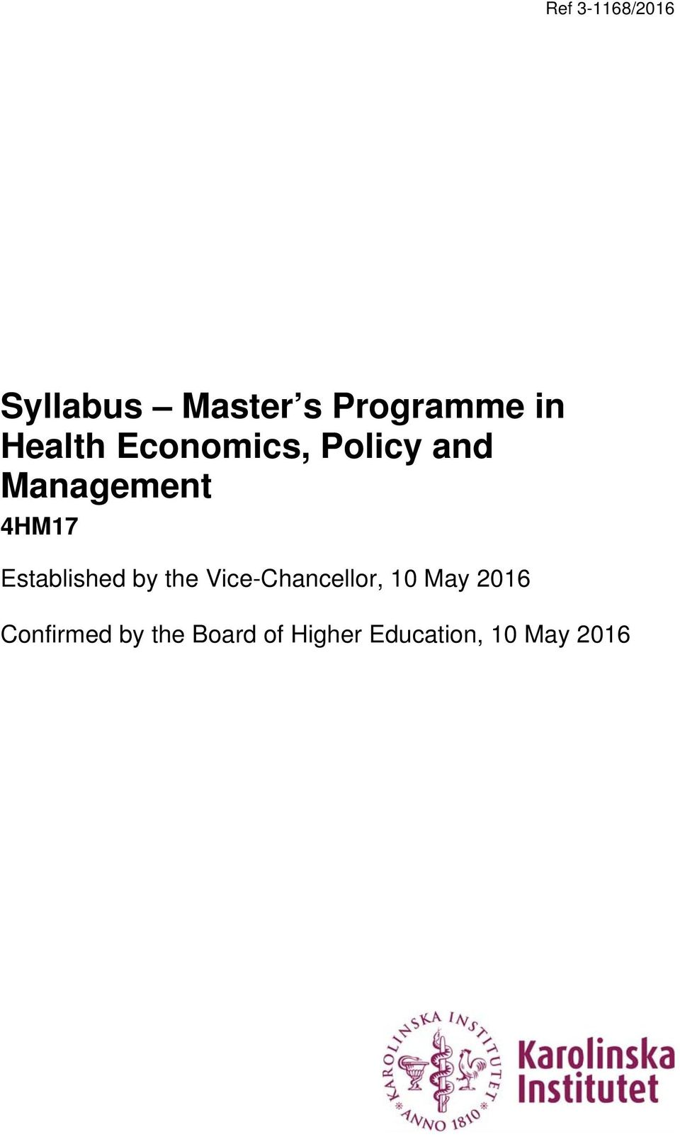 the Vice-Chancellor, 10 May 2016 Confirmed