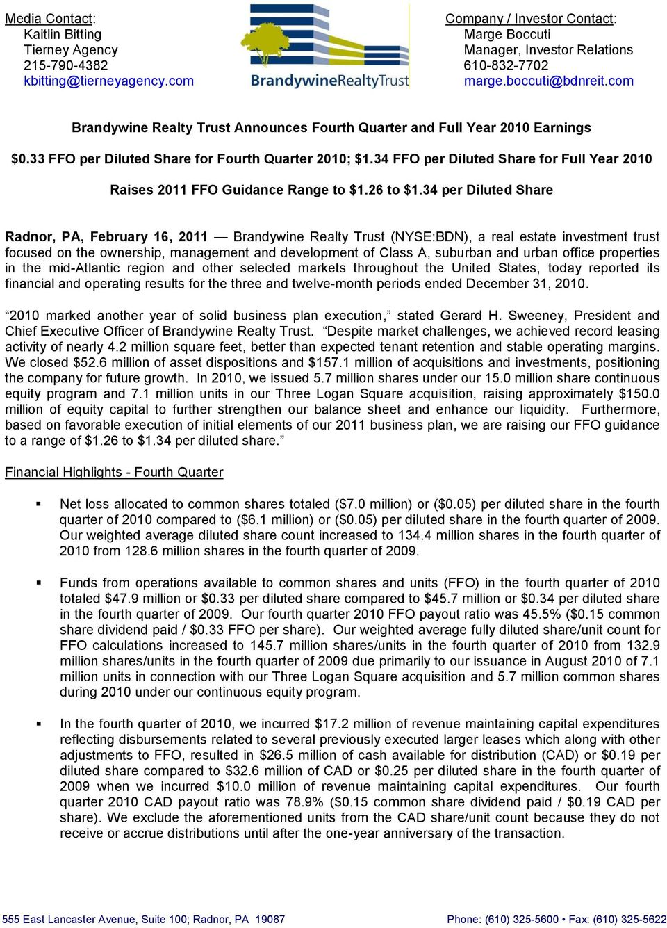 34 FFO per Diluted Share for Full Year 2010 Raises 2011 FFO Guidance Range to $1.26 to $1.