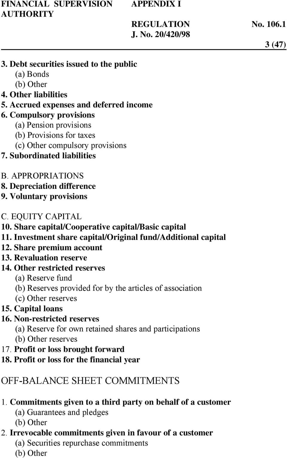Voluntary provisions C. EQUITY CAPITAL 10. Share capital/cooperative capital/basic capital 11. Investment share capital/original fund/additional capital 12. Share premium account 13.