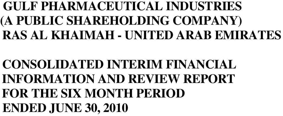 EMIRATES CONSOLIDATED INTERIM FINANCIAL INFORMATION