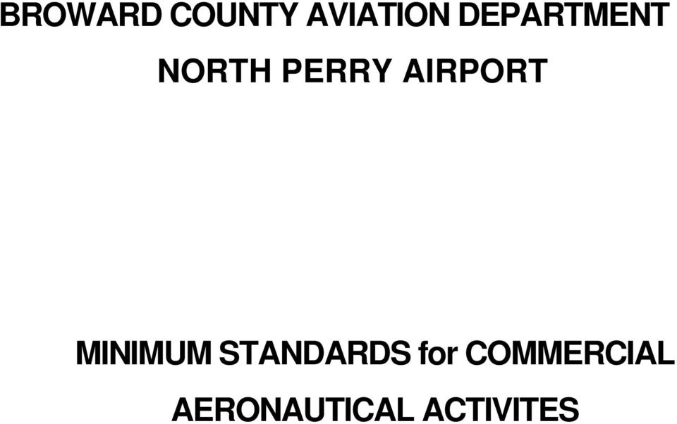 AIRPORT MINIMUM STANDARDS