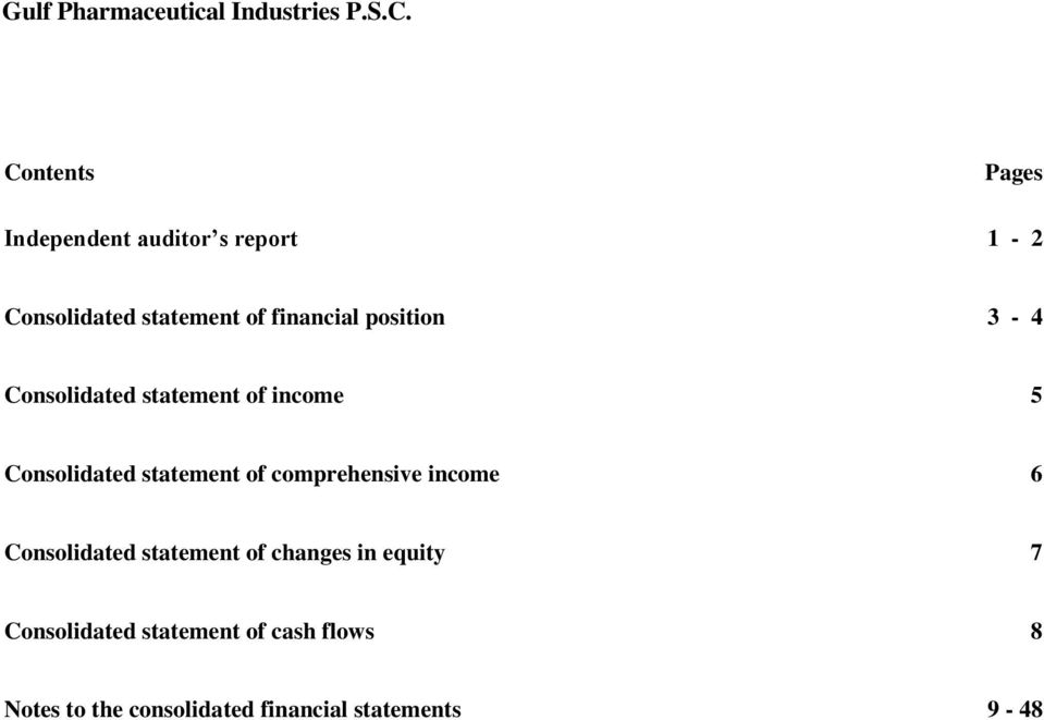 financial position 3-4 Consolidated statement of income 5 Consolidated