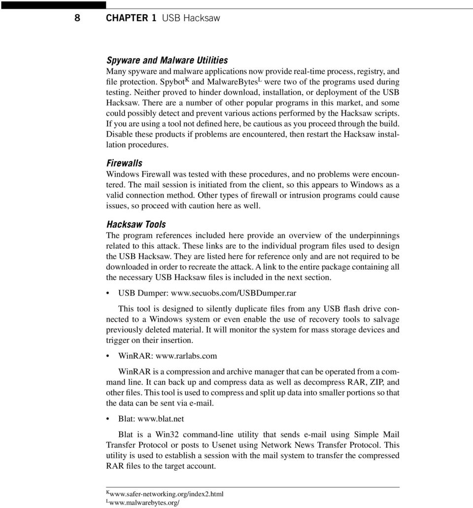 USB Hacksaw CHAPTER INFORMATION IN THIS CHAPTER - PDF