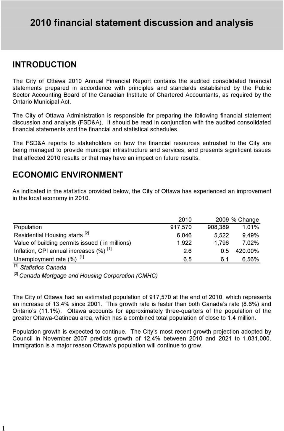 The City of Ottawa Administration is responsible for preparing the following financial statement discussion and analysis (FSD&A).
