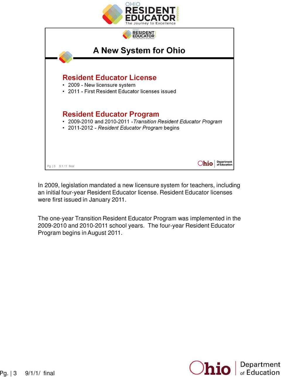 Resident Educator licenses were first issued in January 2011.