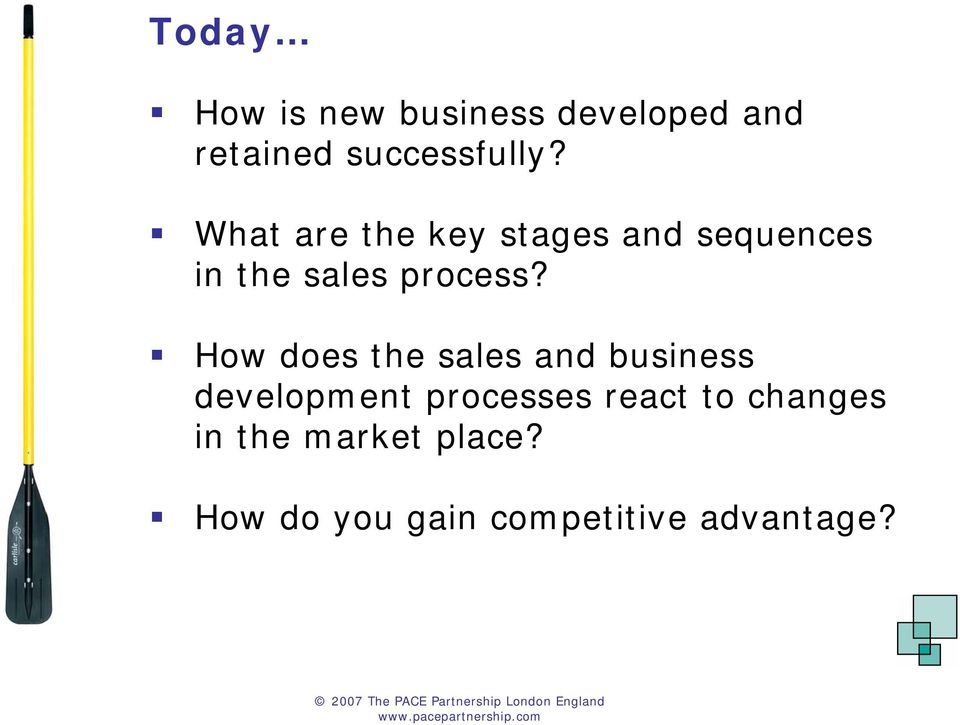 How does the sales and business development processes react to