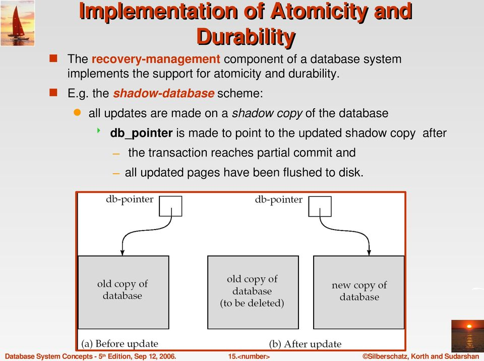 the shadow database scheme: all updates are made on a shadow copy of the database db_pointer is