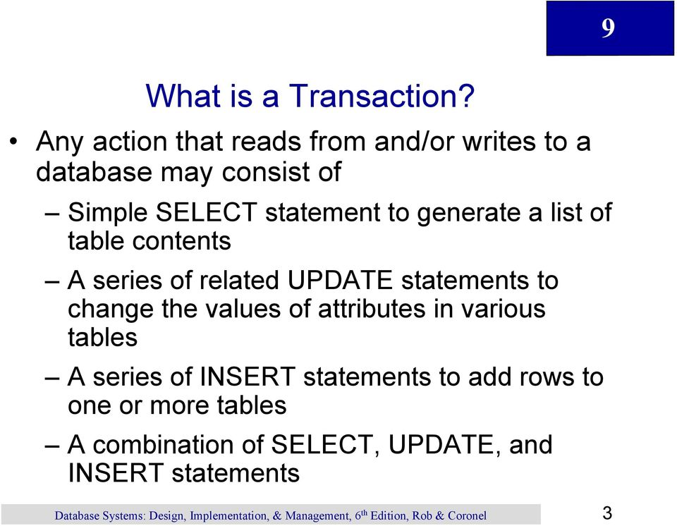 statement to generate a list of table contents A series of related UPDATE statements to