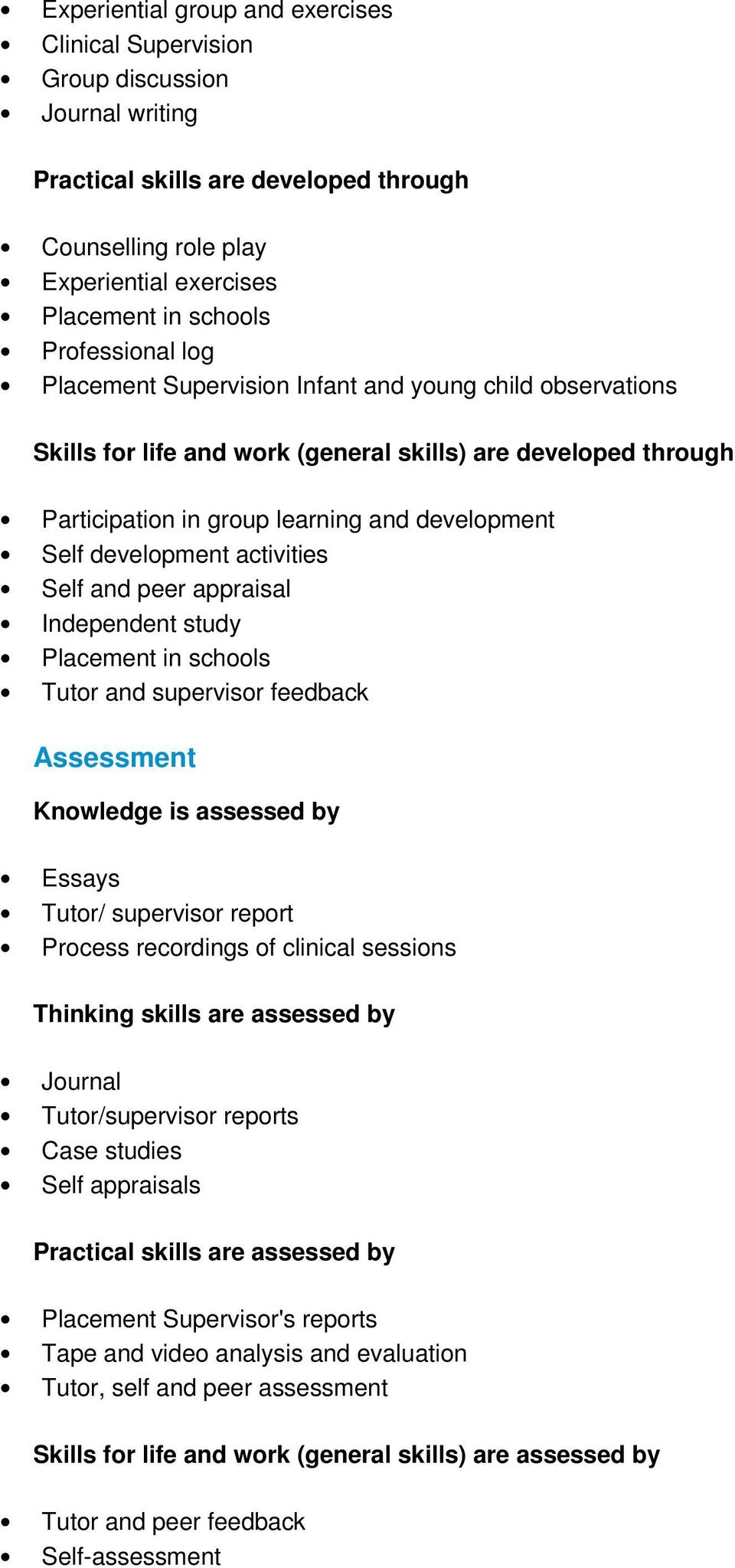 development activities Self and peer appraisal Independent study Placement in schools Tutor and supervisor feedback Assessment Knowledge is assessed by Essays Tutor/ supervisor report Process